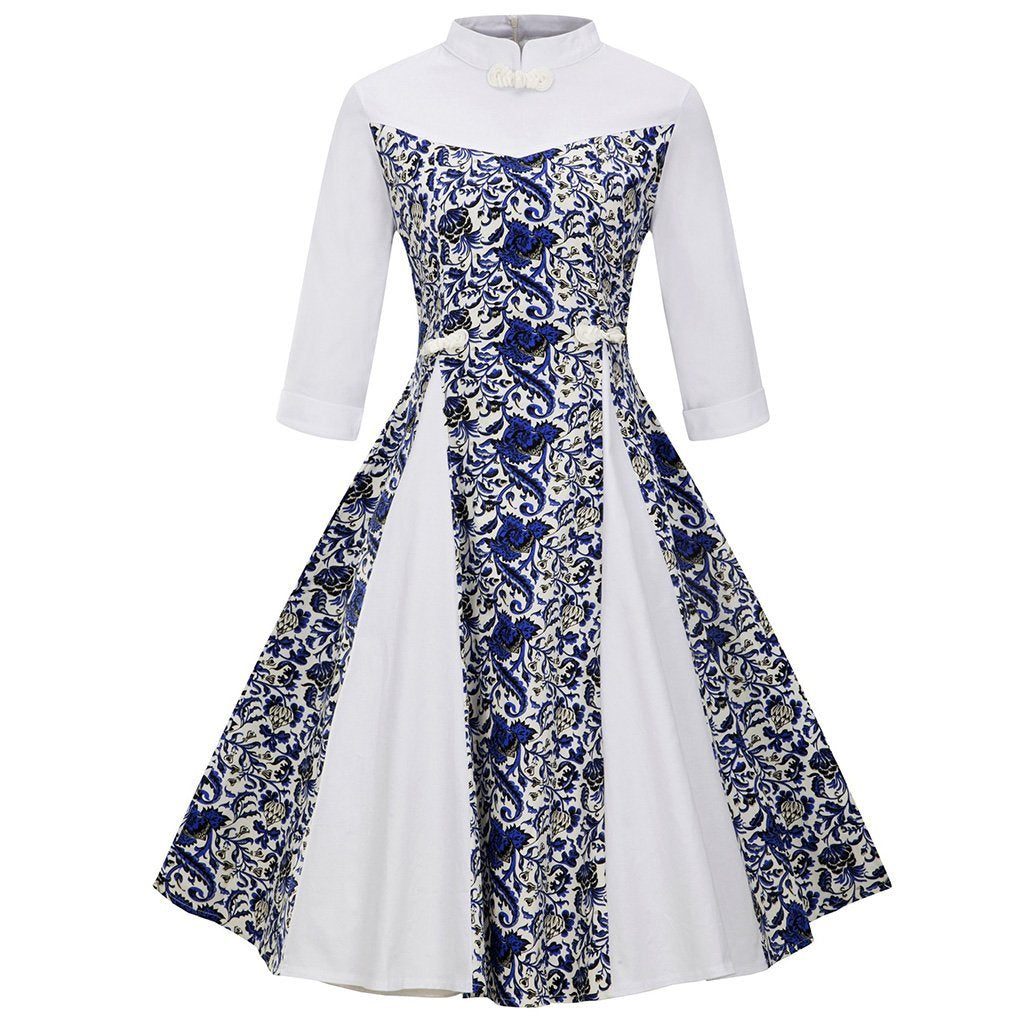 Retro Blue And White Porcelain Printed Expansion Skater Dress With Plus Size