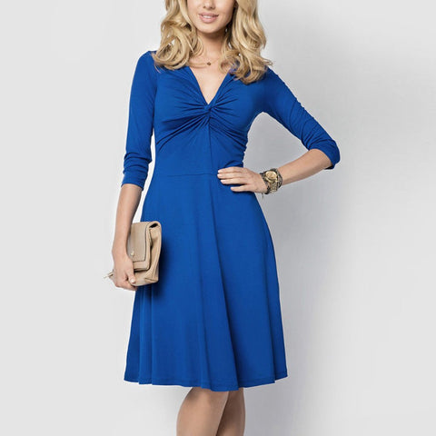 Sexy Deep V Collar Solid Color Expansion Skater Dress With Plus Size-skater dress-PMS-Blue-s-Gofiala