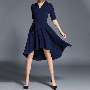 Ladies New Lapel Irregular Dress-skater dress-PMS-Blue-S-Gofiala