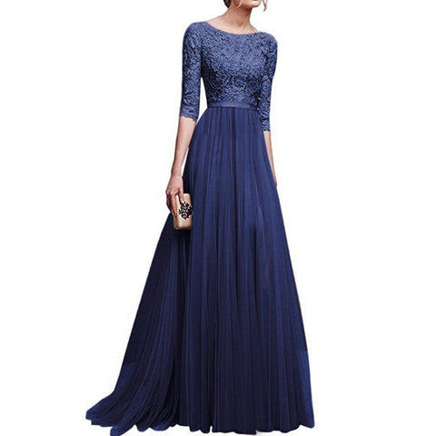Round Neck Patchwork Plain Evening Dress-Evening Dress & Maxi Dress-PMS-Dark Blue-3xl-Gofiala
