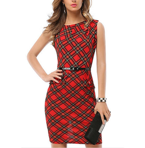 Plaid Printed Sleeveless Package Hip Work Office Bodycon Dress With Belt-Work Dress-PMS-Red-s-Gofiala