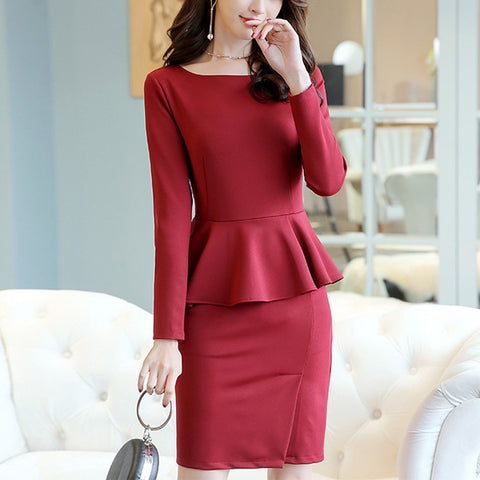 Long-Sleeved Round Collar Solid Color Slim Package Hip Work Office Bodycon Dress-Work Dress-PMS-Claret Red-s-Gofiala