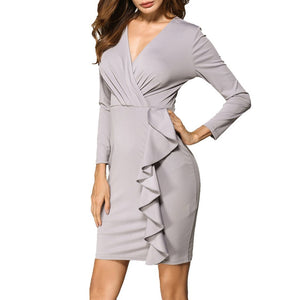 Sexy V Collar Long-Sleeved Solid Color Bodycon Work Dress-Bodycon Dress & Work Dress-PMS-Gray-s-Gofiala