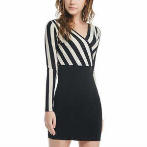 Sexy Deep V-Neck Vertical Stripe Work Dress-Work Dress-PMS-Same Color As The Picture-s-Gofiala