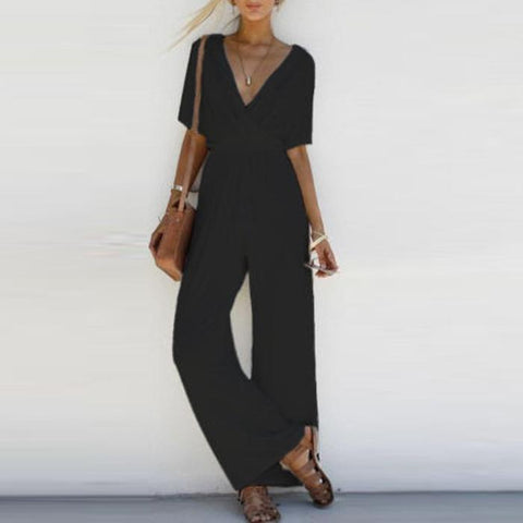 Deep V Collar Holiday Jumpsuit-jumpsuit-PMS-Black-s-Gofiala
