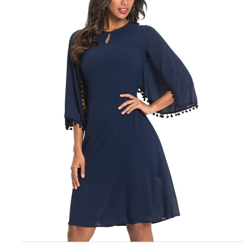 Round Collar 3/4 Speaker Sleeve Hollow Out Work Dress-Maxi Dress-PMS-Dark Blue-s-Gofiala