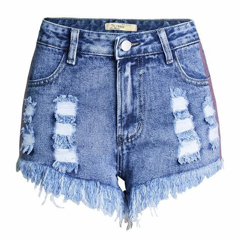 High Waist Ripped Tassel Color Webbing Denim Shorts-shorts-PMS-Light Blue-s-Gofiala