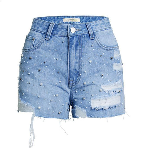 High Waist Hot Beads Denim Shorts-Shorts-PMS-Light Blue-s-Gofiala