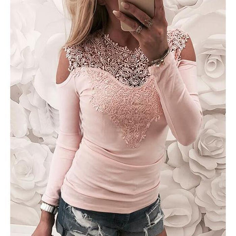 Fashion Plain Round Collar Lace Stitching Shirt-T-shirt-PMS-Pink-s-Gofiala