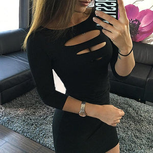 Sexy Pure Color Round Collar 3/4 Sleeve Bodycon Dress-Bodycon Dress-PMS-Black-s-Gofiala