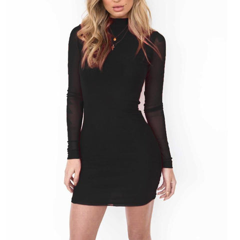 Sexy Pure Color Long-Sleeved Work Dress-Work Dress-PMS-Black-s-Gofiala