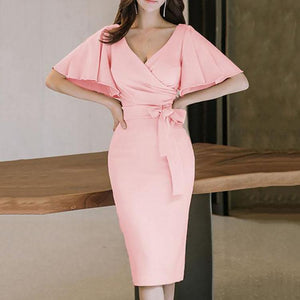 Surplice Plain Bodycon Work Dress-Bodycon Dress & Work Dress-PMS-Pink-s-Gofiala