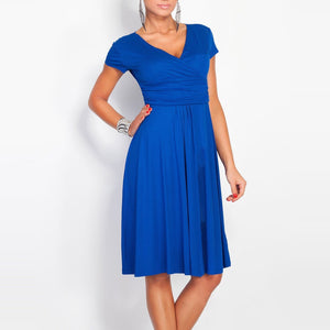Sexy Deep V Collar Pure Color Short-Sleeved Work Dress-Work Dress-PMS-Royal Blue-s-Gofiala