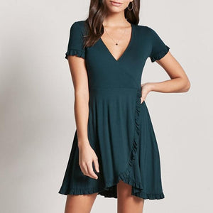 Fashion Short Sleeve V-Neck Ruffle Hem Work Dress-Mini Dress-PMS-Green-s-Gofiala