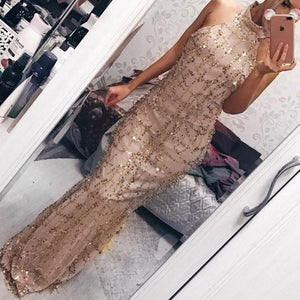 2018 New Style Sexy Sequins Tassel Evening Party Dress-Evening Dress & Bodycon Dress-PMS-Gold-s-Gofiala