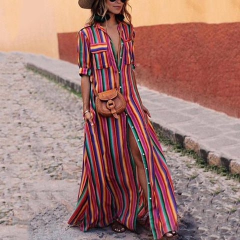 Button Down Collar Stripes Roll Up Sleeve Half Sleeve Maxi Dresses-vacation dress & maxi dress-PMS-Same As Photo-xs-Gofiala