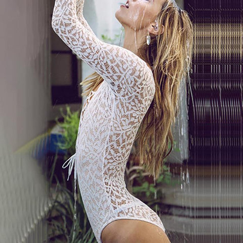 Sexy Deep V Collar Lace Hollow Long-Sleeved Bodysuit-bodysuit-PMS-White-s-Gofiala