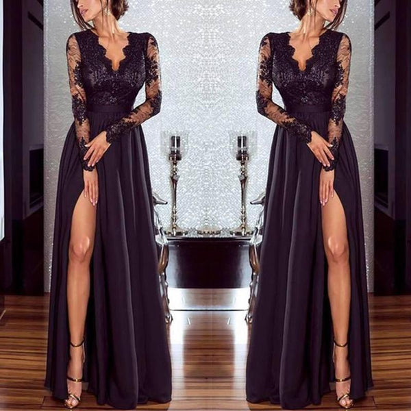 Pure Color Lace Evening Dress-Evening Dress & Maxi Dress-PMS-Black-s-Gofiala
