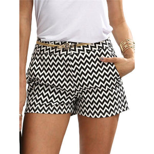 Casual Black And White Wavy Stripes Shorts-Shorts-PMS-Black-l-Gofiala