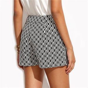 Casual Black And White Stripes Shorts-Shorts-PMS-Black-s-Gofiala