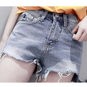 Torn Edge Denim Shorts-Shorts-PMS-Light Blue-s-Gofiala