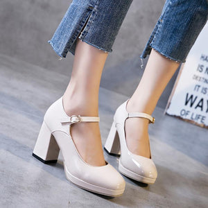 Elegant Pure Color Buckle Thick Heel Shoes-pump-PMS-Beige-36-Gofiala