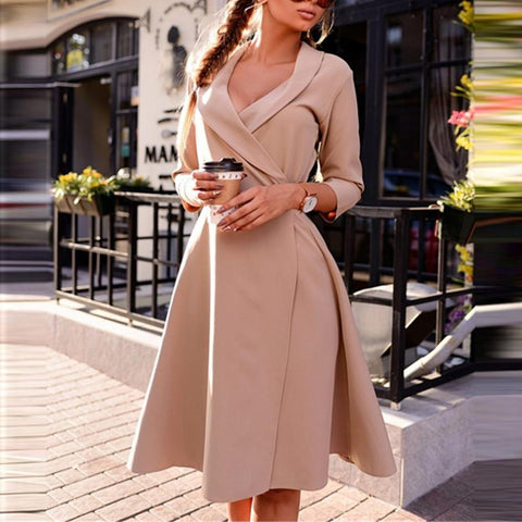 Elegant Lapel Pure Color 3/4 Sleeve Work Dress-skater dress-PMS-Khaki-s-Gofiala