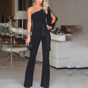 Stylish One Shoulder Slit Sleeve Black Jumpsuit-Jumpsuit-PMS-Black-xl-Gofiala