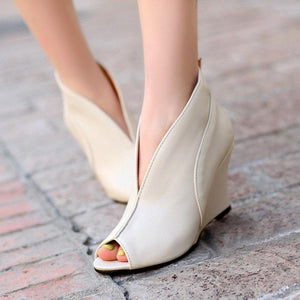 Roman Style Pure Color Fish Mouth High Heel Shoes-pumps-PMS-White-35-Gofiala