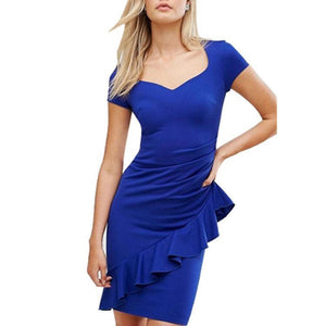 Sexy V Collar Pure Color Ruffled Midi Work Dress-Work Dress-PMS-Blue-s-Gofiala