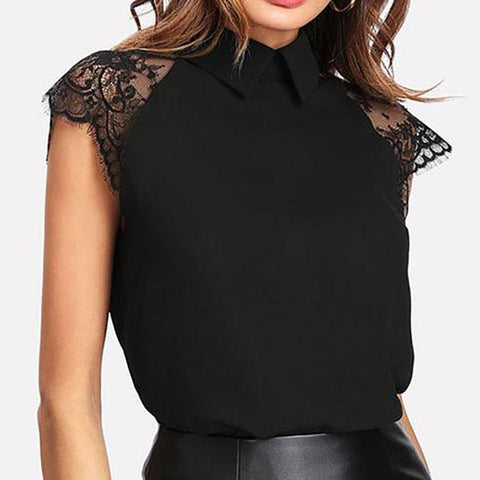 Summer Polyester Women Turn Down Collar Decorative Lace Plain Extra Short Sleeve Blouses-Blouse-PMS-Black-4xl-Gofiala