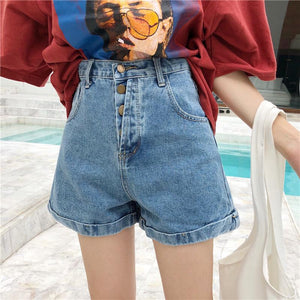 High Waist Buttoning Curling Ins Harajuku Style Denim Short-shorts-PMS-Blue-s-Gofiala