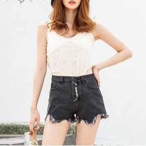 Denim High Waist Short-shorts-PMS-Black-s-Gofiala