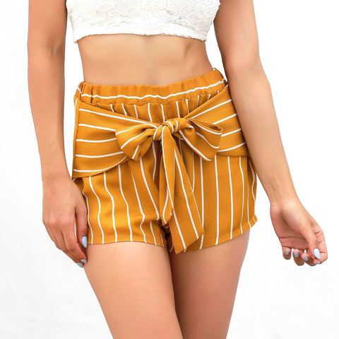 High Waist Casual Women's Shorts-Shorts-PMS-Yellow-s-Gofiala
