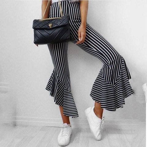 Slim Trousers Feet Micro-Striped Casual Cropped Pants-Pant-PMS-Black-s-Gofiala
