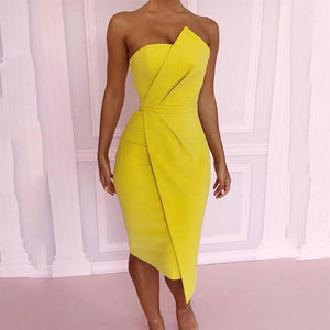 Off Shoulder Plain Bodycon Dress-Bodycon Dress & Mini Dress-PMS-Yellow-xl-Gofiala