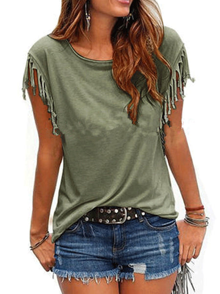 Round Neck Patchwork Plain Short Sleeve T-Shirts-T-Shirt-PMS-Army Green-m-Gofiala