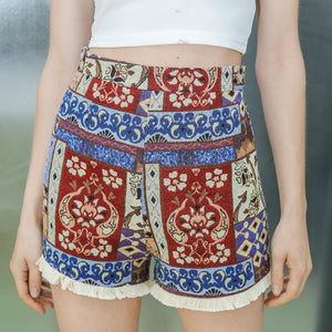 Tassel Hem Slim High Waist Shorts-shorts-PMS-Red-s-Gofiala
