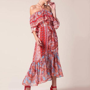 Sexy Off Shoulder Floral Print Vacation Maxi Dress-Vacation Dress-PMS-Same As Photo-m-Gofiala