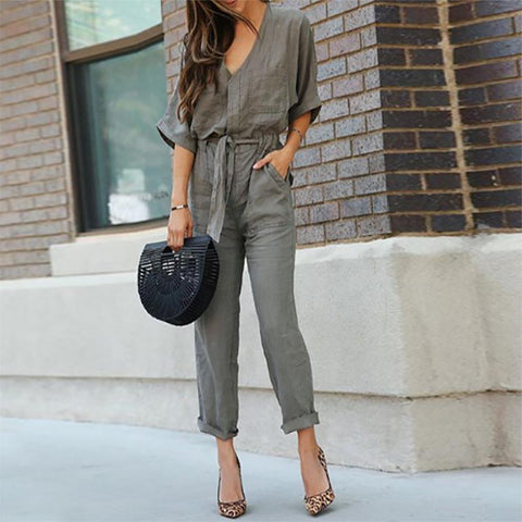 Army Green New Style Fashion Casual Jumpsuit-Jumpsuit-PMS-Army Green-s-Gofiala