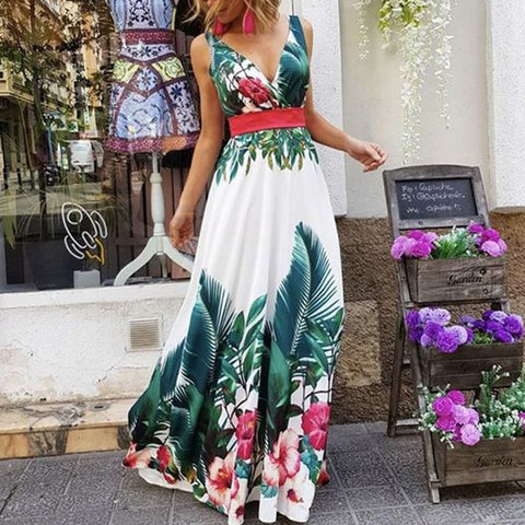Fashion Sleeveless Floral Print Maxi Dress-vacation dress-PMS-Green-s-Gofiala