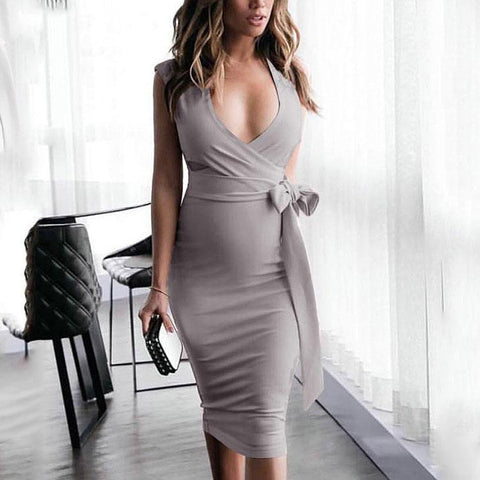 Sexy V Collar Hollow Pure Color Slim Work Dress-Bodycon Dress-PMS-Gray-s-Gofiala