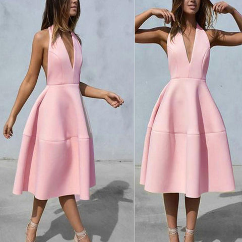 Sexy Pure Color Halter Backless Skater Dress-skater dress-PMS-Pink-s-Gofiala