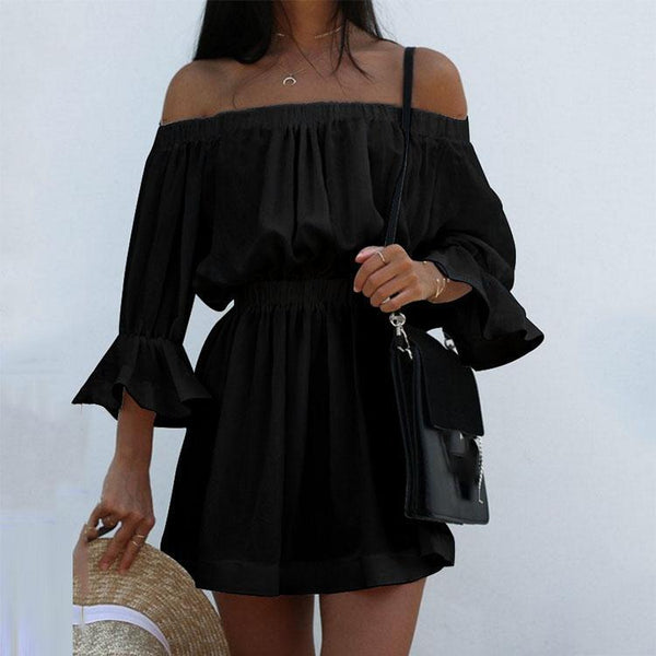 Sexy Off Shoulder Pure Color Beach Vacation Dress-vacation dress & mini dress-PMS-Black-s-Gofiala