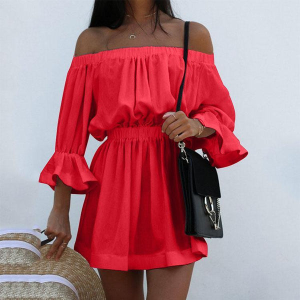 Sexy Off Shoulder Pure Color Beach Vacation Dress-vacation dress & mini dress-PMS-Red-s-Gofiala