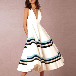 Sexy V-Neck Printed Stripe vacation Dress-Skater Dress-PMS-White-s-Gofiala