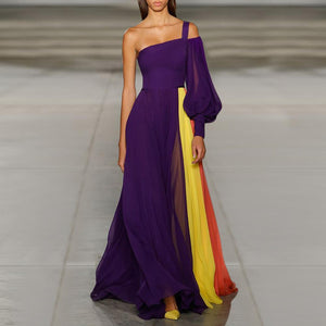 Sexy One Shoulder Sleeveless Maxi Dress-evening dress-PMS-Purple-s-Gofiala
