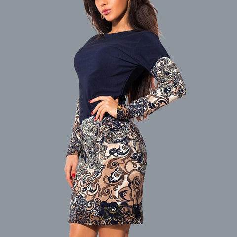 Vintage Printed Round Neck Long Sleeve Sexy Slim Dress-Bodycon Dress-PMS-Detail-s-Gofiala