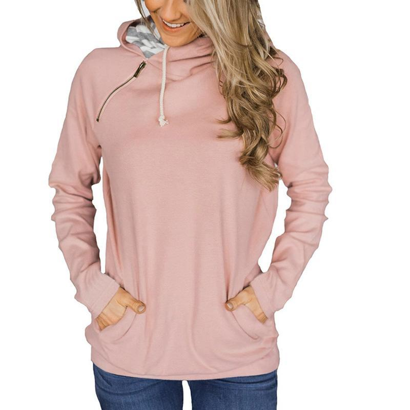 Casual Style Stitching Zipper Drawstring Long-Sleeved Hoodie-hoodie-PMS-Pink-s-Gofiala