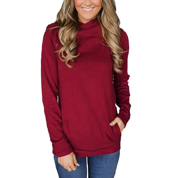 Casual Style Stitching Zipper Drawstring Long-Sleeved Hoodie-hoodie-PMS-Claret Red-s-Gofiala